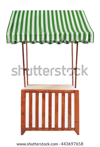 Wooden market stand stall with striped awning - stock photo