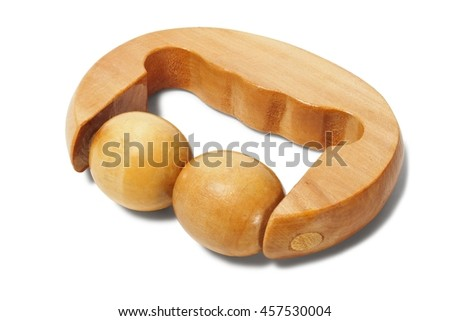 Wooden massager isolated on white background - stock photo