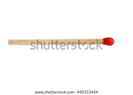 Wooden match close-up isolated on white background - stock photo