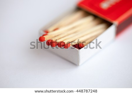 Wooden match in the box - stock photo