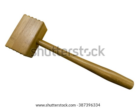 Wooden meat mallet isolated on white background