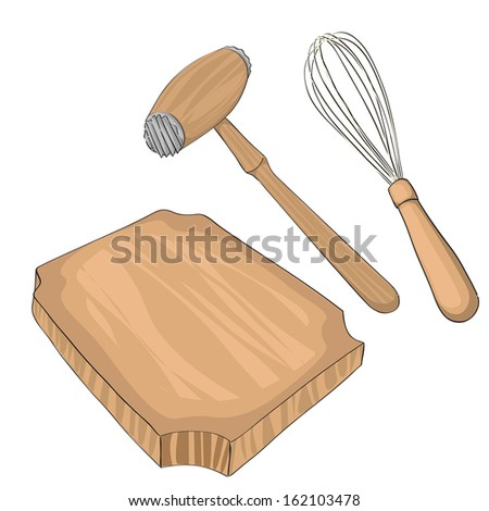 Wooden meat tenderizer on a cutting board and a whisk, hand drawn objects isolated on white - stock photo