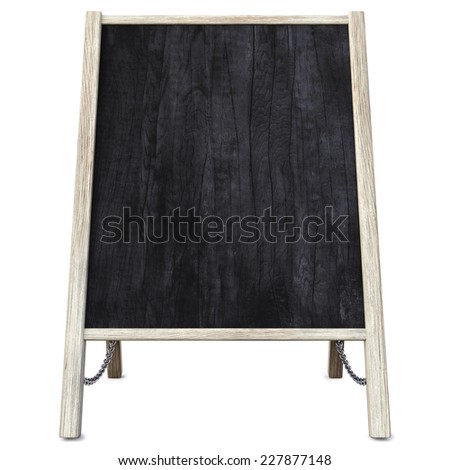 wooden menu board. isolated on white. - stock photo