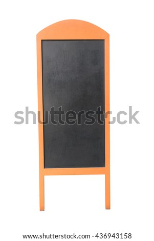 Wooden menu board, isolated on white.