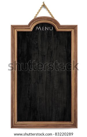 wooden menu board with golden frame. isolated on white. - stock photo