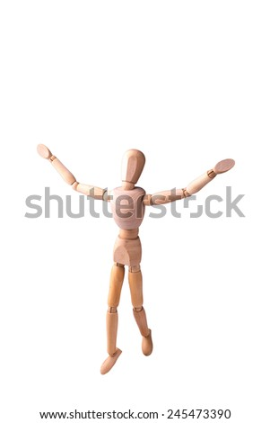 Wooden Model of the person on the white isolated background - stock photo