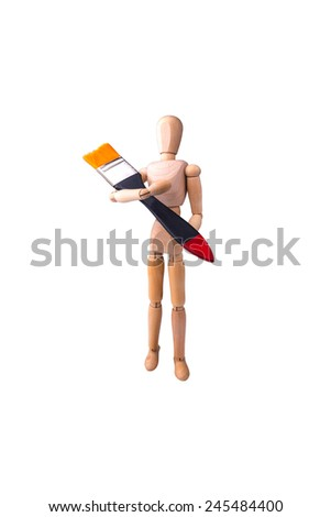 Wooden Model of the person with a brush in hands on the white isolated background - stock photo