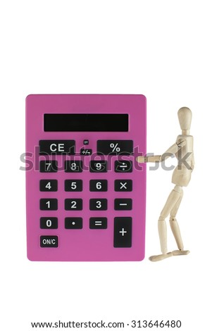 Wooden model with calculator - isolated on white