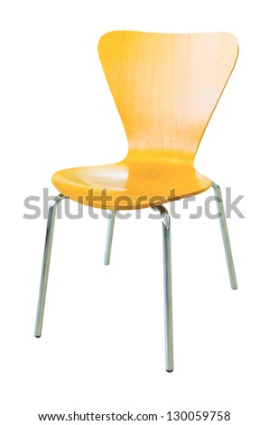 Wooden modern chair on isolated on white background - stock photo