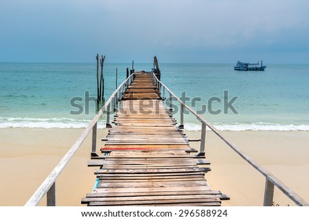 wooden mooring at the beach of the Koh Samed, Thailand - stock photo
