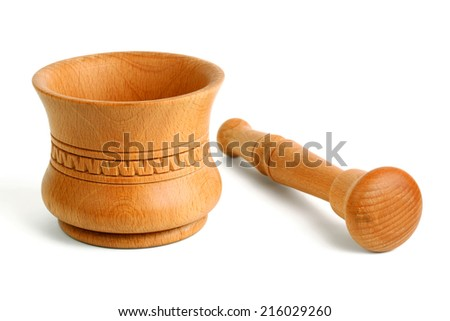 Wooden mortar isolated on white - stock photo