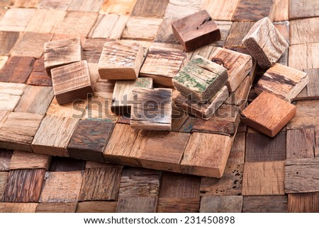Wooden mosaic of old planks of hardwood - stock photo