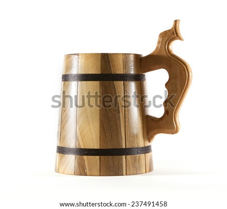 Wooden mug for beer - stock photo