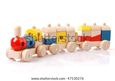 wooden multicolour toy train on white