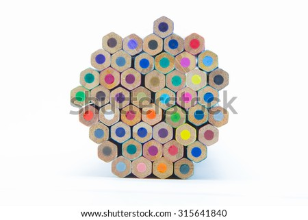 Wooden multiple colour pencils bottom view, on white background - stock photo