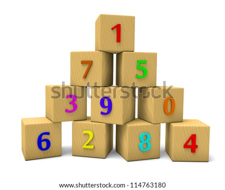 Wooden numbered cubes, mathematics abstract 3d illustration - stock photo