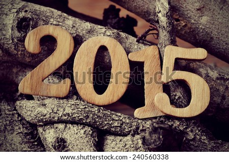 wooden numbers forming the number 2015, as the new year, with a pile of logs in the background - stock photo