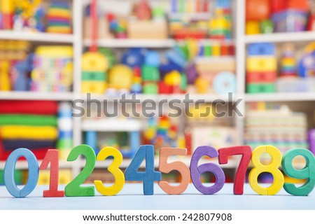 wooden numbers in room for children - stock photo