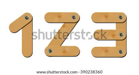 wooden numbers 1-2-3 isolate on white background - stock photo