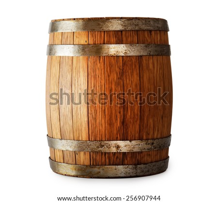 Wooden oak barrel isolated on white background - stock photo
