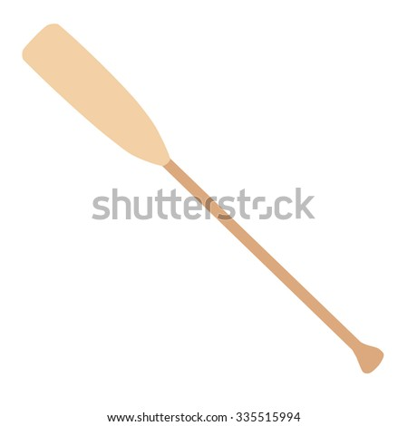 Wooden oar raster icon isolated on white, water sport - stock photo