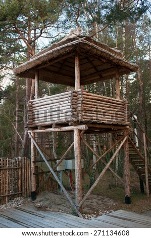 Wooden observation tower in the forest. Spring season. National Park. - stock photo