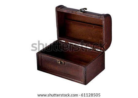 Wooden old box opened unlocked