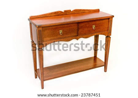 Wooden old console on a white background