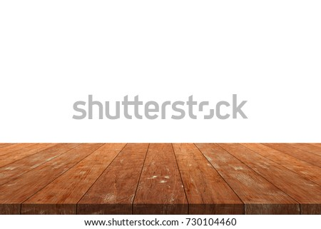 Wooden Old Table Isolated On White Background. For Your Product Placement  Or Montage With Focus