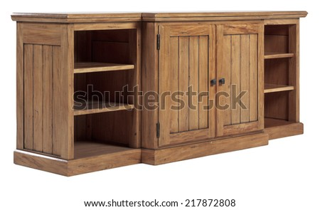 Wooden old vintage country style cabinet - stock photo