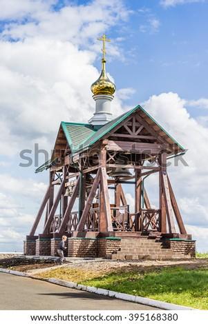 Wooden orthodox chapel - stock photo