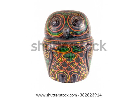 Wooden owl lacquer ware isolated on white