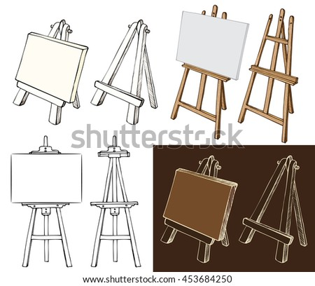 Wooden painting easels set. Easel with blank canvas, cartoon, black and white and color, hand drawn sketch style isolated on white and dark background. illustration.