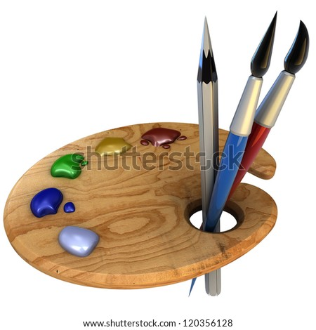 Wooden palette of colors - stock photo