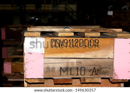 Wooden pallet bunch in warehouse before shipment