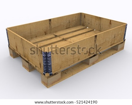 Wooden pallet isolated 3d rendering