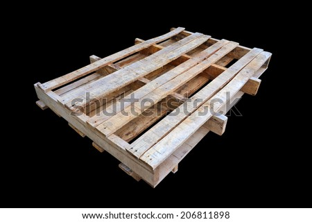 wooden pallet isolated on black background - stock photo