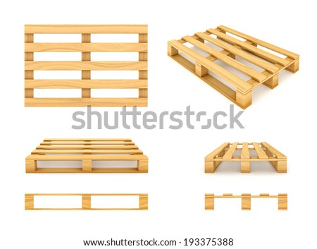 Wooden pallet isolated on white background. - stock photo