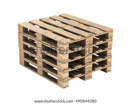 Wooden pallet without shadow on background 3D illustration
