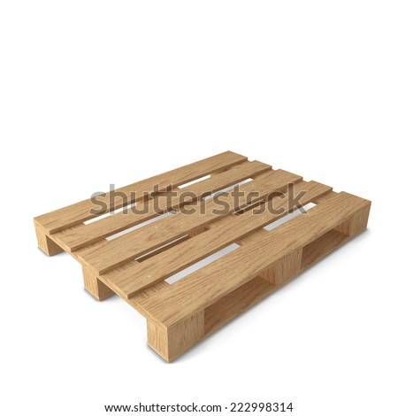 Wooden pallets. 3d illustration isolated on white background  - stock photo