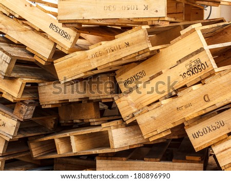 Wooden pallets placed in outdoor - stock photo