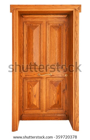 Wooden panel door isolated on white background - stock photo