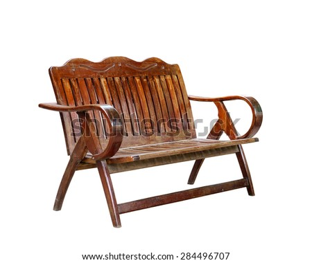 Wooden Park Bench Isolated on White Background.