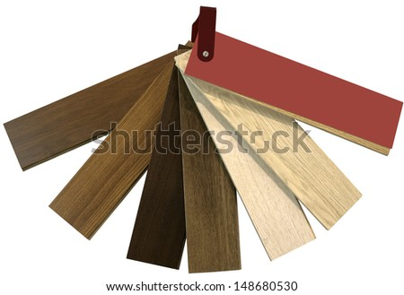Wooden Parquet Color Swatch isolated with Clipping Path - stock photo