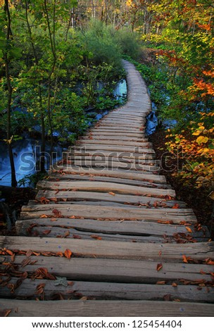Wooden path in the Plitvice lakes (Plitvicka jezera) national park, Croatia, Europe. Season: autumn - stock photo