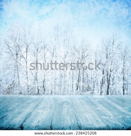 Wooden path in winter forest at sunny day - stock photo