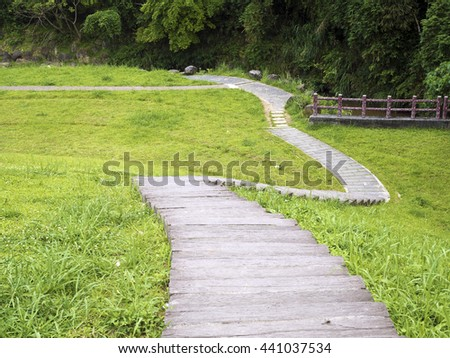 wooden path on grassland in summer,taipei,taiwan