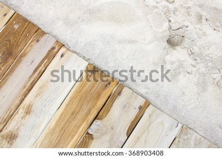 Wooden path on the beach close up.  - stock photo