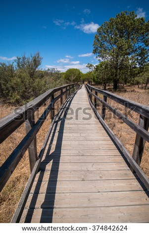 Wooden pathway on the Ria Formosa marshlands located in the Algarve, Portugal. - stock photo