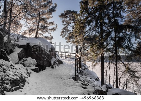 Wooden Pathway or Footpath through pine forest along lake on sunny winter day. Beautiful landscape with way between stones and lake. Bridge with handrails is turning. Swedish nature. covered with snow